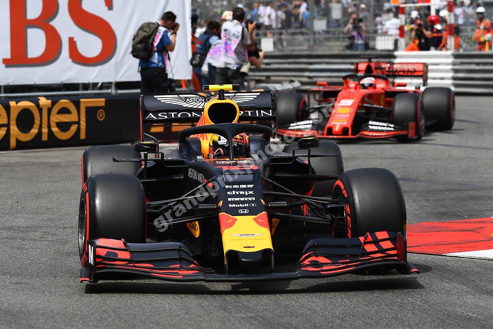 Pierre Gasly (Red Bull-Honda) in front of Sebastian Vettel (Ferrari) during qualifying before the 2019 Monaco Grand Prix. Photo: Grand Prix Photo