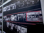 """Portland, Oregon, USA. 26 FEB, 2018. Photographer Robert Frank's """"Trolly"""" - frame 16 - from his groundbreaking book """"The Americans""""printed on newsprint at Blue Sky Gallery in Portland, Oregon, USA. The work was destroyed in a """"Destruction Dance"""" performance defacing the photographs with ink and mutilation with scissors, knives and even ice skates  at the end of it's run. The destruction was Frank's protest regarding today's greed in the global art market."""