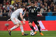 Ever Banega of Argentina and Daniel Carvajal of Spain during the International friendly game football match between Spain and Argentina on march 27, 2018 at Wanda Metropolitano Stadium in Madrid, Spain - Photo Rudy / Spain ProSportsImages / DPPI / ProSportsImages / DPPI