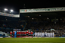 Bournemouth and Leeds United players join in a minutes applause in memory of former Leeds United chairman Leslie Silver who passed away on 29th December 2014 - Photo mandatory by-line: Rogan Thomson/JMP - 07966 386802 - 20/01/2015 - SPORT - FOOTBALL - Leeds, England - Elland Road Stadium - Leeds United v Bournemouth - Sky Bet Championship.