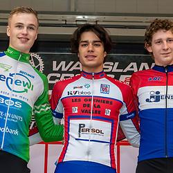 21-12-2019: Cycling : Waaslandcross Sint Niklaas: Florian Richard Andrade(FRA) wins the juniors race ahead of Twan van der Drift(NED) and Gustav Wang(DEN)