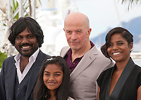 Kalieaswari Srinivasan, director Jacques Audiard, Claudine Vinasitamby and Jesuthesan Antonythasan at the Dheepan film photo call at the 68th Cannes Film Festival Thursday May 21st 2015, Cannes, France.