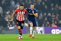 February 27, 2019 - Southampton, England, United Kingdom - down Southampton forward Charlie Austin Fulham defender Calum Chambers chases during the Premier League match between Southampton and Fulham at St Mary's Stadium, Southampton on Wednesday 27th February 2019. (Credit Image: © Mi News/NurPhoto via ZUMA Press)