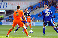 Cardiff City's Peter Whittingham (c) lines up a shot. Skybet football league championship match, Cardiff city v Ipswich Town at the Cardiff city stadium in Cardiff, South Wales on Saturday 12th March 2016.<br /> pic by Carl Robertson, Andrew Orchard sports photography.