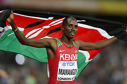 LONDON, Aug. 14, 2017  Elijah Motonei Manangoi of Kenya celebrates after winning the men's 1500m final on Day 10 at the IAAF World Championships 2017 in London, Britain on Aug. 13, 2017. Elijah Motonei Manangoi claimed the title with 3 minutes 33.61 seconds. (Credit Image: © Han Yan/Xinhua via ZUMA Wire)