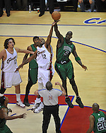Cleveland's Joe Smith jumps with Boston's Kevin Garnett..The Cleveland Cavaliers defeated the Boston Celtics 88-77 in Game 4 of the Eastern Conference Semi-Finals at Quicken Loans Arena in Cleveland.