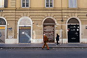 Shops and activities shut down in Testaccio neighborhood  in central Rome due to the fear of possible damages caused by protesters during the anti-European Union demonstration. Rome 25 March 2017. Christian Mantuano / OneShot