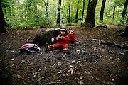 Svizzera, asilo nel bosco, Zurigo. ...... Switzerland, Zurich, every day the children leave the kindergarten and walk for more than one Kilometre, in order to continue the day in the wood..