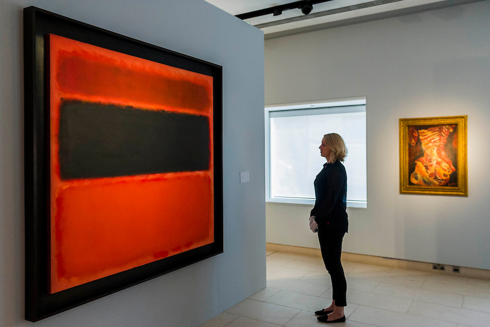 """Mark Rothko (1903 -1970), No. 36 (Black Stripe), 1958 (est: $30-50 million) - Preview of almost fifty works from Christie's spring sales in New York of Impressionist, Modern, Post-War And Contemporary Art. The most expensive work is Les femmes d'Alger (Version """"O""""), 1955, by Pablo Picasso (1881-1973), estimate $140million. Other highlights include: Pablo Picasso (1881-1973), Femme à la résille, 1938 (est $55 million); Mark Rothko (1903 -1970), No. 36 (Black Stripe), 1958 (est: $30-50 million); Andy Warhol (1928-1987), Colored Mona Lisa, 1963 (est $40 million); Claude Monet (1840-1926), Le Parlement, soleil couchant, 1902 (est: $35-45 million); Jean Dubuffet, Paris Polka, 1961 (est $25 million); Piet Mondrian (1872-1944), Composition No.III (Composition with Red, Blue, Yellow and Black), 1929 (est: $15-25million); and Amedeo Modigliani (1884-1920), Portrait de Béatrice Hastings, 1916 (est $7-10million) from the Collection of John C. Whitehead. The works will be on view to the public from 11 to 16 April at Christie's King Street, London."""