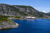 Norway, Sør-Trøndelag, Stokksund. Hurtigruta northbound seen from Stokkøybrua bridge.