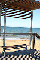 Boardwalk seat and shelter at Burnie beach Tasmania Australia