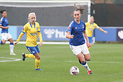 Everton midfielder Megan Finnigan (20)with the ball during the FA Women's Super League match between Everton Women and Brighton and Hove Albion Women at the Select Security Stadium, Halton, United Kingdom on 18 October 2020.