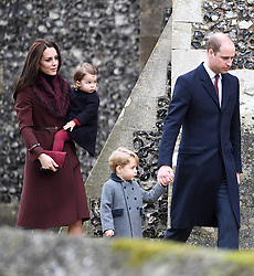 Prince William, Duke of Cambridge, Prince George of Cambridge, Catherine, Duchess of Cambridge and Princess Charlotte of Cambridge  attend a Christmas Day service at St. Marks Church in Englefield on December 25, 2016.