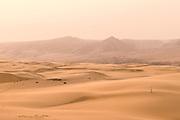 Man walking in the sand, Kunene Region, Northern Namibia, Southern Africa