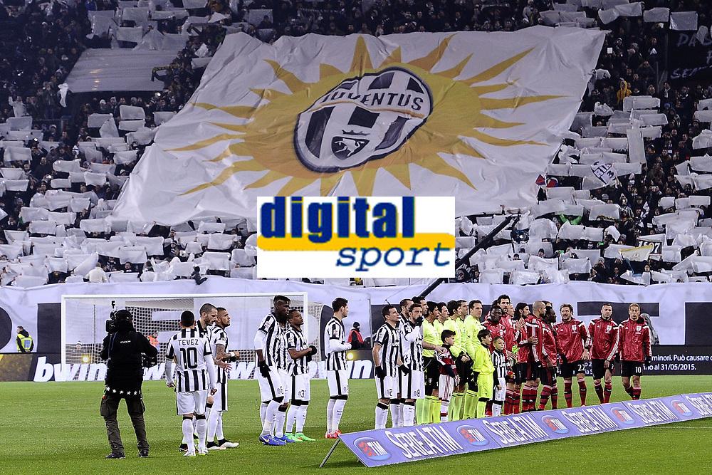 coreografia tifosi Juventus Supporters <br /> Torino 07-02-2015, Juventus Stadium, Football Calcio 2014/2015 Serie A, Juventus - Milan, Foto Image Sport/Insidefoto