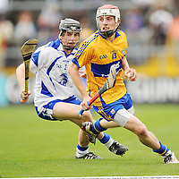 10 July 2011; Shane O'Donnell, Clare, in action against Jamie Barron, Waterford. Munster GAA Hurling Minor Championship Final, Clare v Waterford, Pairc Ui Chaoimh, Cork. Picture credit: Stephen McCarthy / SPORTSFILE