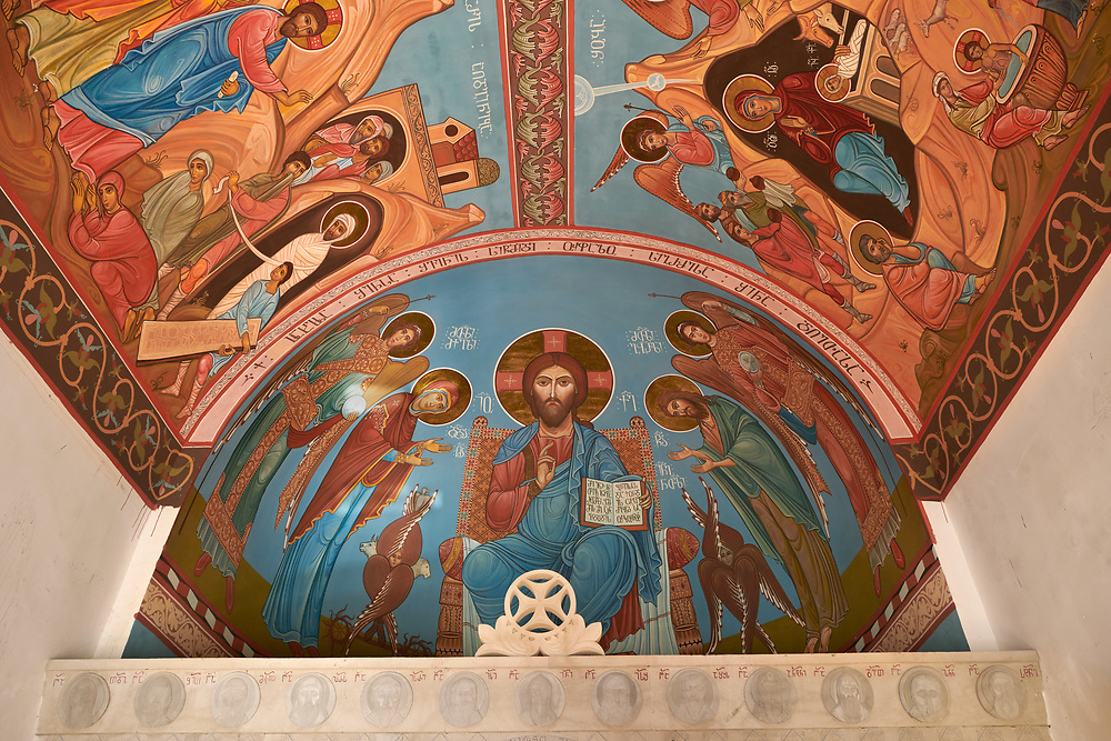 Pictures and images of frescoes inside the chapel in the historic medieval Kintsvisi Monastery Georgian Orthodox Monastery complex, Shida Kartli Region, Georgia (country).<br /> <br /> Kintsvisi Monastery is the best preserved example of Georgian architecture of the 12th and 15th centuries, the so called Georgian Golden Age. .<br /> <br /> Visit our MEDIEVAL PHOTO COLLECTIONS for more   photos  to download or buy as prints https://funkystock.photoshelter.com/gallery-collection/Medieval-Middle-Ages-Historic-Places-Arcaeological-Sites-Pictures-Images-of/C0000B5ZA54_WD0s<br /> <br /> Visit our REPUBLIC of GEORGIA HISTORIC PLACES PHOTO COLLECTIONS for more photos to browse, download or buy as wall art prints https://funkystock.photoshelter.com/gallery-collection/Pictures-Images-of-Georgia-Country-Historic-Landmark-Places-Museum-Antiquities/C0000c1oD9eVkh9c
