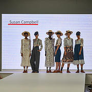 Designer Susan Campbell showcases it lastest collection at the Graduate Fashion Week 2018, 4 June 4 2018 at Truman Brewery, London, UK.