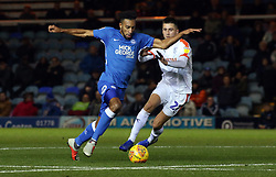 Rhys Bennett of Peterborough United in action with Aaron Jarvis of Luton Town - Mandatory by-line: Joe Dent/JMP - 13/11/2018 - FOOTBALL - ABAX Stadium - Peterborough, England - Peterborough United v Luton Town - Checkatrade Trophy
