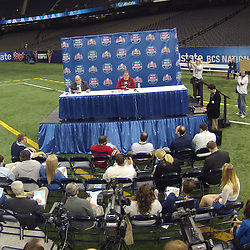 January 6, 2012; New Orleans, LA, USA; Alabama Crimson Tide head coach Nick Saban during Media Day for the 2012 BCS National Championship game to be played on January 9, 2012 against the against the LSU Tigers at the Mercedes-Benz Superdome.  Mandatory Credit: Derick E. Hingle-US PRESSWIRE