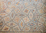 4th century Roman geometric moisaic from Merida, Merida Archaeological Museum, Spain . Emerita Augusta (Merida)  was founded as a Roman colony in 25 BC under the order of the emperor Augustus to serve as a retreat for the veteran soldiers (emeritus) of the legions V Alaudae and X Gemina. The city, one of the most important in Roman Hispania, The archeological site in the city has been a UNESCO World Heritage site since 1993.<br /> <br /> Visit our SPAIN HISTORIC PLACES PHOTO COLLECTIONS for more photos to download or buy as wall art prints https://funkystock.photoshelter.com/gallery-collection/Pictures-Images-of-Spain-Spanish-Historical-Archaeology-Sites-Museum-Antiquities/C0000EUVhLC3Nbgw <br /> .<br /> <br /> Visit our ROMAN ART & HISTORIC SITES PHOTO COLLECTIONS for more photos to download or buy as wall art prints https://funkystock.photoshelter.com/gallery-collection/The-Romans-Art-Artefacts-Antiquities-Historic-Sites-Pictures-Images/C0000r2uLJJo9_s0