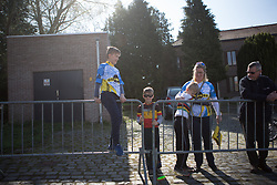 Young fans wait for the peloton to arrive during the Ronde Van Vlaanderen - a 153.2 km road race, starting and finishing in Oudenaarde on April 2, 2017, in East Flanders, Belgium.