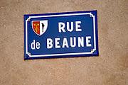 street sign rue de beaune monthelie cote de beaune burgundy france