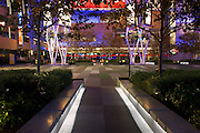 L.A. LIVE entertainment campus includes the Nokia and Staples Centers along with restaurants and retail stores, Downtown Los Angeles, California.