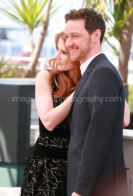 Jessica Chastain and James Mcavoy at the photo call for the film The Disappearance Of Eleanor Rigby at the 67th Cannes Film Festival, Sunday 18th May 2014, Cannes, France.