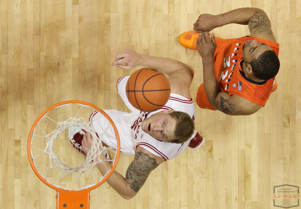 27 January 2011: Indiana forward Derek Elston (32) as the Indiana Hoosiers played the Illinois Fighting Illini in a college basketball game in Bloomington, Ind.