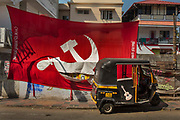 The communist party offices with a Hammer and Sickle flag outside on 28th February 2018 in Kochi, Kerala, India. Today the largest political party in Kerala politics is the Communist Party of India Marxist.