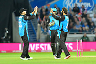 Wicket - Moeen Ali of Worcestershire celebrates taking the wicket of Luke Wright of Sussex during the final of the Vitality T20 Finals Day 2018 match between Worcestershire Rapids and Sussex Sharks at Edgbaston, Birmingham, United Kingdom on 15 September 2018.