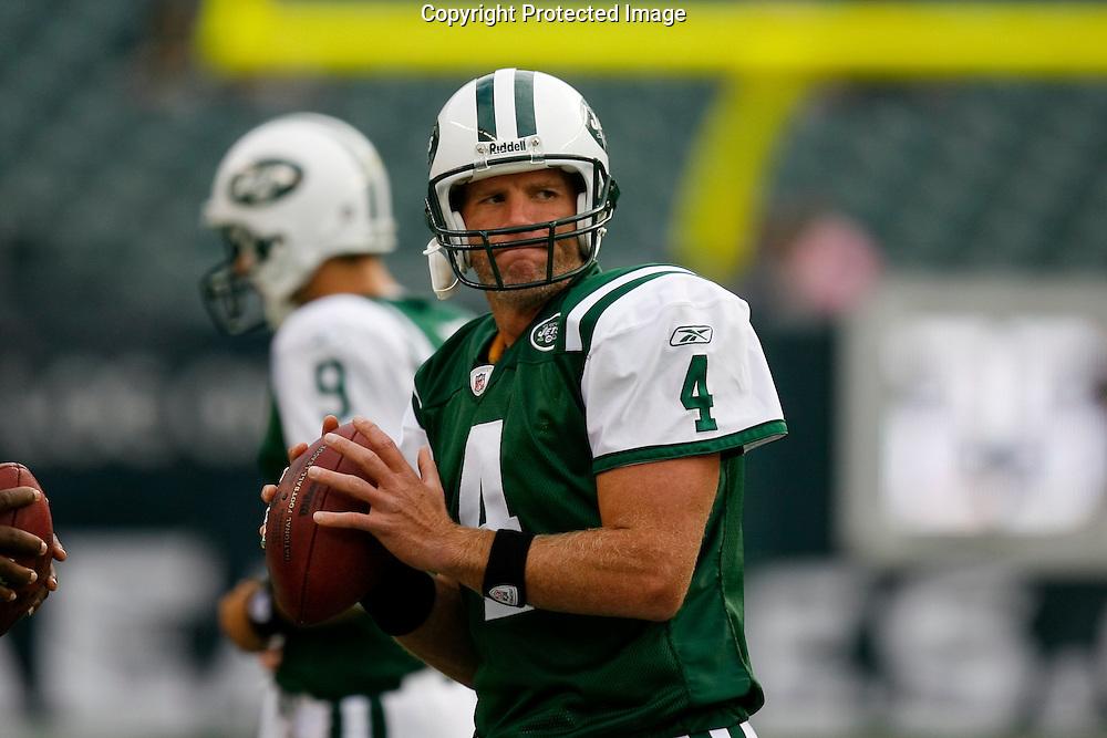 28 August 2008: New York Jets quarterback Brett Favre #4 warms up before the game against the Philadelphia Eagles on August 28, 2008. The Jets beat the Eagles 27 to 20 at Lincoln Financial Field in Phialdelphia, Pennsylvania.