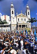 "The ""Berlinda"" with the miraculous statue reaches the Basilica de Nazaré."