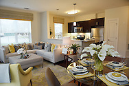 The dining and living area of a two bedroom corner model unit at the 1 Upland apartment complex under construction in Norwood, Tuesday, Dec. 8, 2015.<br /> Wicked Local staff photo / Kate Flock