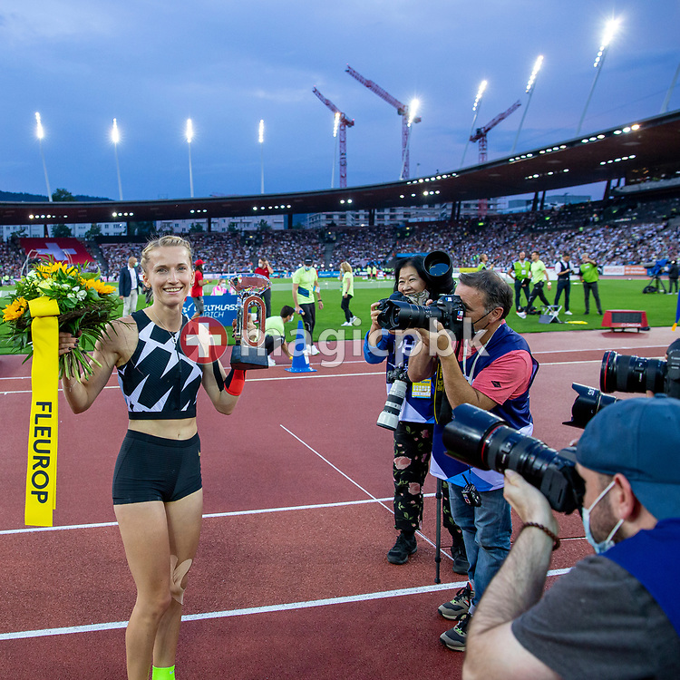 Winner Anzhelika Sidorova of Russia celebrates after competing in the Pole Vault Women during the Iaaf Diamond League meeting (Weltklasse Zuerich) at the Letzigrund Stadium in Zurich, Switzerland, Thursday, Sept. 9, 2021. (Photo by Patrick B. Kraemer / MAGICPBK)