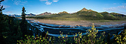 Views from Teklanika Rest Stop, Denali National Park, Alaska, USA. This image was stitched from multiple overlapping photos.