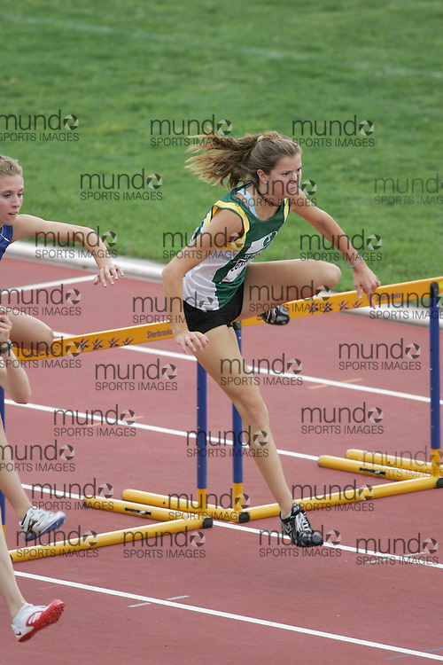 (Sherbrooke, Canada---22 July 2006) Emily Coxhead competing in the women's 100m hurdle final at the 2006 Canadian Junior Track and Field Championships and national multi-events championships 21-23 July 2006 held in Sherbrooke Quebec. Copyright 2006 Sean Burges / Mundo Sport Images, www.mundosportimages.com