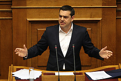 Greek Prime Minister Alexis Tsipras addresses Parliament to open debate over justice issues in Athens, Greece on March 29, 2016. EXPA Pictures © 2016, PhotoCredit: EXPA/ Photoshot/ Marios Lolos<br /> <br /> *****ATTENTION - for AUT, SLO, CRO, SRB, BIH, MAZ, SUI only*****