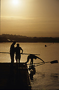 Sydney, AUSTRALIA, Crew, boating from the dock to take part in an early morning training session, at the 2000 Olympic Regatta, Penrith Lakes. [Photo Peter Spurrier/Intersport Images] 2000 Olympic Rowing Regatta00085138.tif