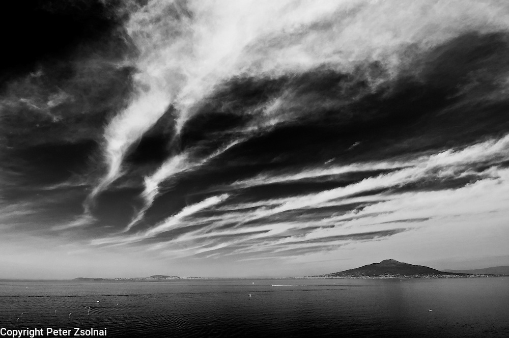 View of the Bay of Naples in Italy with clouds,