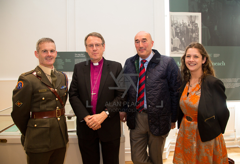30.05. 2017.                                             <br /> Limerick Museum opened the doors to its new home at the former Franciscan Friary on Henry Street in the heart of Limerick city, dedicated to the memory of Jim Kemmy, the former Democratic Socialist Party and Labour Party TD for Limerick East and two-time Mayor of Limerick.<br /> <br /> Pictured at the opening of the new Museum were, Comdt. Cathay Keohane, Sarsfield Barracks, Bishop Kenneth Kearon, David O'Brien, Limerick Civic Trust and Alison McNamara, Limerick Civic Trust.<br /> <br /> The museum will house one of the largest collections of any Irish museum. Picture: Alan Place