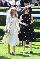 Princess Beatrice and Princess Eugenie during day one of Royal Ascot at Ascot Racecourse, London