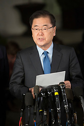 South Korea's national security director Chung Eui-yong makes a statement at The White House in Washington, DC, March 8, 2018. Credit: Chris Kleponis / CNP. 08 Mar 2018 Pictured: South Korea's national security director Chung Eui-yong makes a statement at The White House in Washington, DC, March 8, 2018. Credit: Chris Kleponis / CNP. Photo credit: Chris Kleponis - CNP / MEGA TheMegaAgency.com +1 888 505 6342