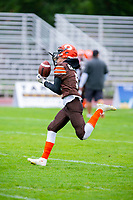 KELOWNA, BC - SEPTEMBER 8:  Keiran Carter #5 of the Okanagan Sun warms up on the field against the Langley Rams at the Apple Bowl on September 8, 2019 in Kelowna, Canada. (Photo by Marissa Baecker/Shoot the Breeze)