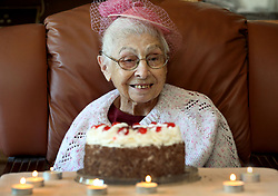 South Africa - Durban - 08 July 2020 - Coronavirus - 100yr old Magdalene Barhouch with her birthday cake at a celebration at Elijah Nursing Home in Westville. <br /> Picture: Shelley Kjonstad/African News Agency(ANA)