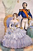 France, Pyrénées-Atlantiques (64), Pays Basque, Biarritz, portrait de Napoleon III et Eugenie // France, Pyrénées-Atlantiques (64), Basque Country, Biarritz, portrait of Napoleon III and Eugenie