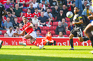 Jacob Brown of Barnsley (33) in action during the EFL Sky Bet League 1 match between Barnsley and Shrewsbury Town at Oakwell, Barnsley, England on 19 April 2019.