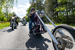 """Håkan Nilsson riding his 20"""" over Harley-Davidson Evo Swedish style chopper on the Twin Club ride out from the club house in Norrtälje after their annual Custom Bike Show. Sweden. Sunday, June 2, 2019. Photography ©2019 Michael Lichter."""