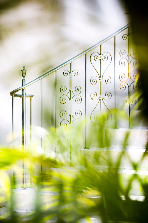 Miami Modern railing on stairs at comedian Jackie Gleason's Miami Beach home.